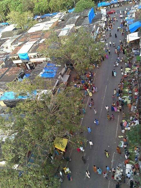 An arial view of part of the Dharavi Slum