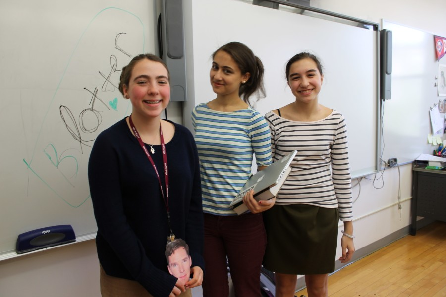The three Ms. Durham impersonators: freshman Maddie Korbey, junior Nadine Khoury, and fresman Gabby Guarna.
