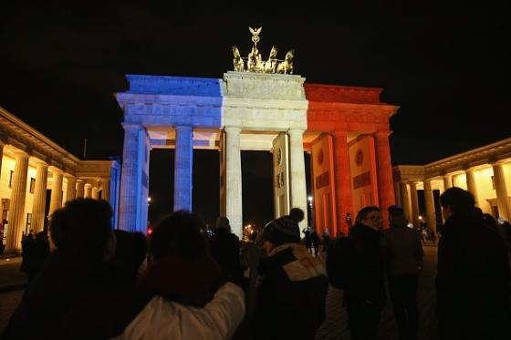 The Brandenburg Gate in Berlin lit up in the Tricoleur to show its solidarity and support for the French people. (Photo credit: Sean Gallup, Getty Images)
