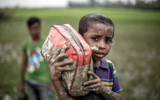 Rohingya Refugees flee to Bangladesh. Photo Credit: Kathleen Prior