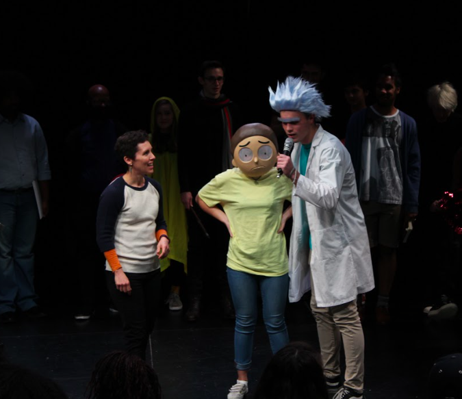 Bronnie O. '18 and Griffin C. '18 as Rick and Morty
