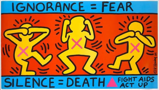 A poster for Act Up by Keith Haring  made in '87. Haring died in 1990 of AIDS-related complications.