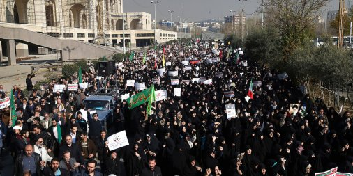 Protesters on the streets of Tehran on Dec 30, 2017. Photo from AP.