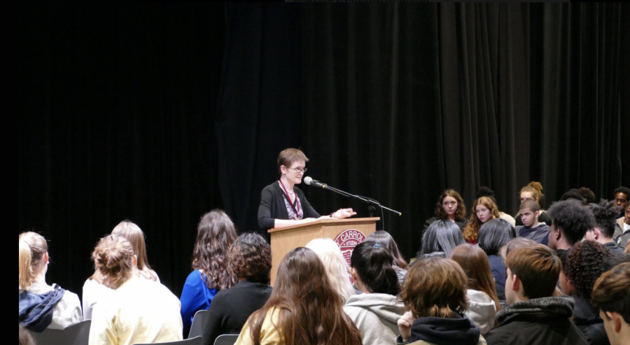 Ms. Drezner speaking at the Tree of Life Synagogue assembly. Credit: Andrew Bauld