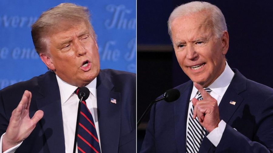 Joe Biden and Donald Trump at the first presidential debate on Sept. 29, 2020/via AP on ABC News