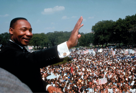 "Martin Luther King Jr. giving his ""I Have a Dream"" speech at the March on Washington in 1963."